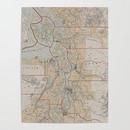Vintage Map of The Puget Sound (1899) Poster