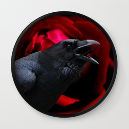 Surreal Crow against Red Rose A590 Wall Clock