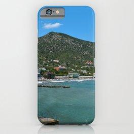 Crimea Russia Sudak Hill Bay Marinas Houses Cities Pier Berth Building iPhone Case
