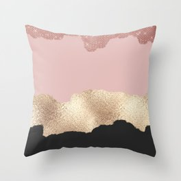 Rose Gold Glitter Black Pink Abstract Girly Art Throw Pillow