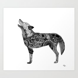 Henna-Inspired Wolf Art Print