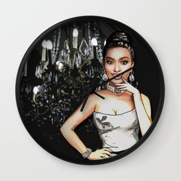 Retro Pinup Girl & Sparkly Chandelier Wall Clock