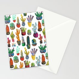 Funky Rainbow Cactus Pattern Stationery Cards