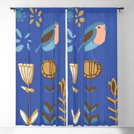 hygge blue bird Blackout Curtain