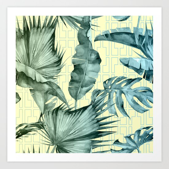 Simply Island Mod Palm Leaves on Pale Yellow Art Print