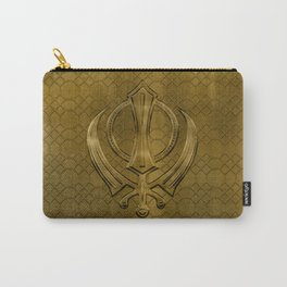 Vintage metal gold Khanda symbol Carry-All Pouch