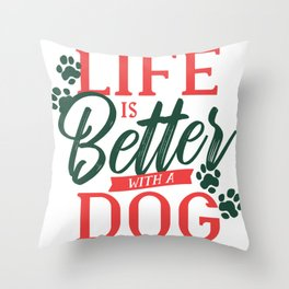 With a Dog Throw Pillow