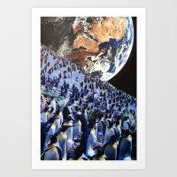 penguins Art Prints featuring Penguins by John Turck