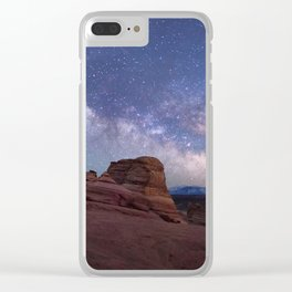 Delicate Arch Under the Starry Sky in Arches National Park Panorama Clear iPhone Case