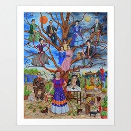 Frida Kahlo custom family tree painting Kunstdrucke