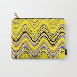 yellow purple blue wavy striped pattern Carry-All Pouch