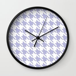 PreppyPatterns™ - Modern Houndstooth - white and mist lavender blue Wall Clock