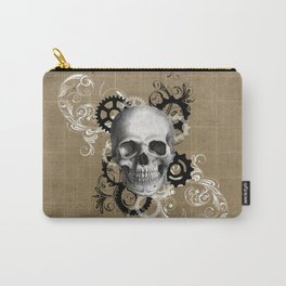 Skull With Gears and Floral Ornaments Carry-All Pouch