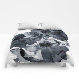Black peonies Comforters