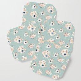 Dog Rose Pattern Mint Coaster
