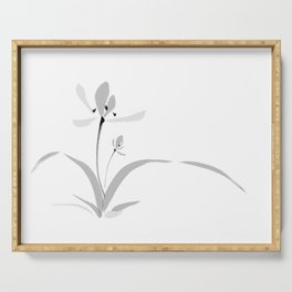 Chinese orchid ink painting - romantic & deep love Serving Tray