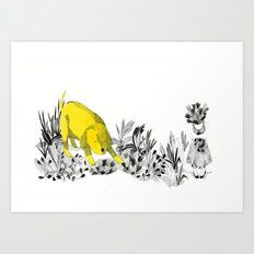 yellow dog Art Print