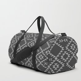 Southwestern textured navajo pattern in black & white Duffle Bag