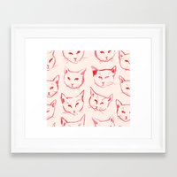 novelty Framed Art Prints featuring Red Cat by leah reena goren