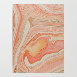 Orange Liquid Marble Poster