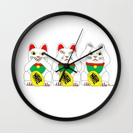 Three Wise Lucky Cats Wall Clock