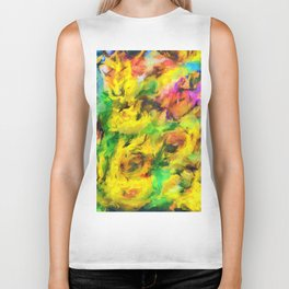 Sunflowers abstract Biker Tank