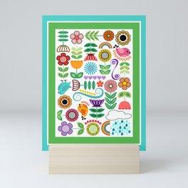 Colorful Springtime Scandinavian Folk Art // Flowers, Birds, Rainbows, Hearts Mini Art Print