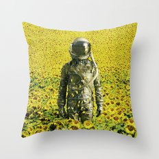 Stranded in the sunflower field Throw Pillow