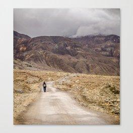 Solo journey near Pangong Tso lake in Ladakh, India Canvas Print