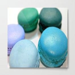 Macarons / Macaroons Teal Blue Metal Print