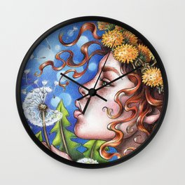 Dandelion Fairy Wall Clock