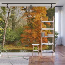 Willow in Autumn colors Wall Mural
