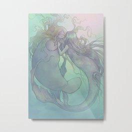 Mermaids in Love Metal Print