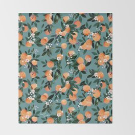 Dear Clementine - oranges teal by Crystal Walen Throw Blanket