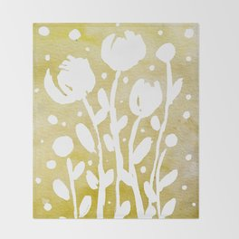 Whimsical watercolor flowers – yellow Throw Blanket