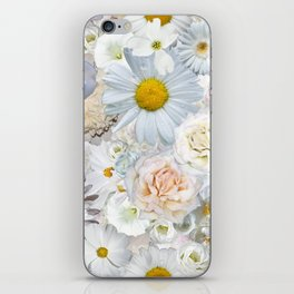 White Floral Bouquet Mixed Flower Pattern iPhone Skin