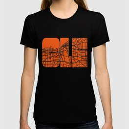 Cleveland Ohio Map City Street Maps Home OH Pride Vintage Print T-shirt