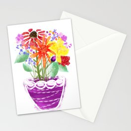 A colourful pot of wild flowers Stationery Cards