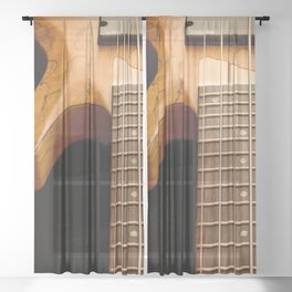 Music is a Moral Law ~ Bass Guitar Sheer Curtain