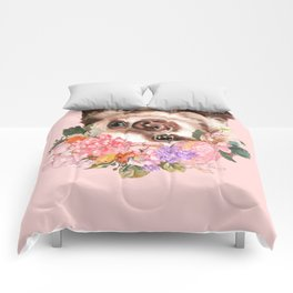 Baby Sloth with Flowers Crown in Pink Comforters