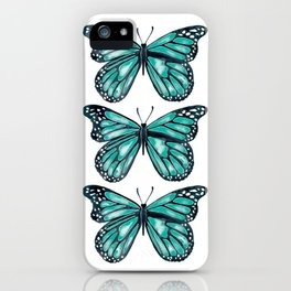 Turquoise Butterfly iPhone Case