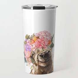 Highland Cow with Flower Crown Travel Mug
