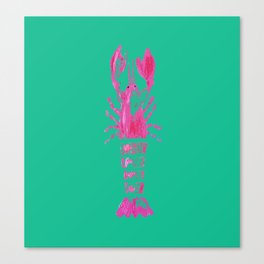 Pink and Green Palm Beach Lobster Canvas Print