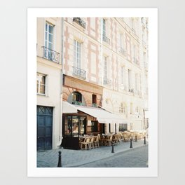 Street view with cafe terrace in Paris, France Art Print