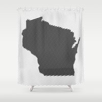 wisconsin Shower Curtains featuring Wisconsin Line by Beastie Toyz