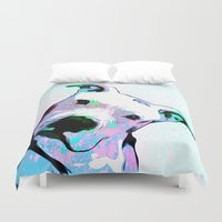 pit bull Duvet Covers featuring Pit bull - Puzzled - Pop Art by William Cuccio aka WCSmack