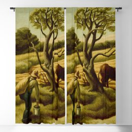 Classical Masterpiece 'Noon Time' Old West Harvest Time portrait painting by Thomas Hart Benton Blackout Curtain