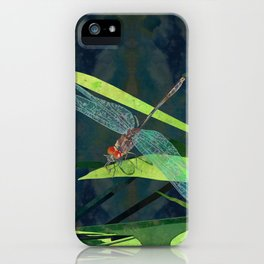Green Dragonfly Pond  iPhone Case