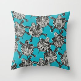 turtle party surf blue Throw Pillow