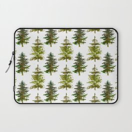 Hand painted green forest green watercolor trees motif Laptop Sleeve